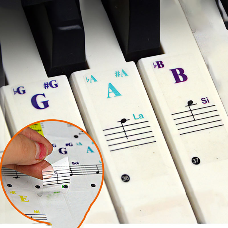 Keyboard Sticker Transparent Piano 88/61/49/37 Key Electronic Keyboard Piano Sticker Piano Stave Note Sticker For White Keys