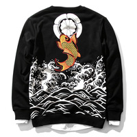 Autumn and winter new Japanese fashion brand men's clothing Chinese carp gilding trend cotton large size pullover clothing