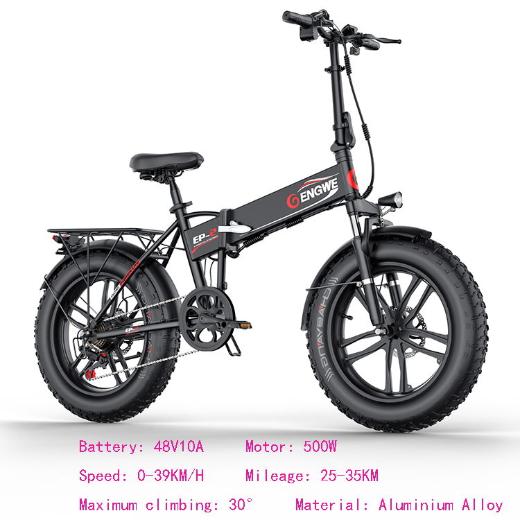 Electric bike 20*4.0inch Aluminum Foldable electric Bicycle 48V12A 500W 38KM/H 7Speed Powerful Fat Tire bike Mountain snow ebike 2