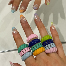 Lost lady verão esmalte doces cor anéis para as mulheres aberto ajustável geométrica larga dedo anéis atacado jóias dropshipping