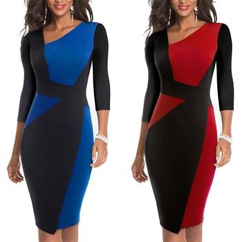 2020 Asymmetrical Collar Dress Elegant Casual Work Office Sheath Slim Dress 2