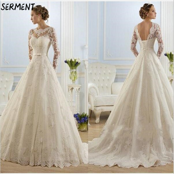 SERMENT Simple Lace Sleeve Wedding Dress Off The Shoulder Suitable For Pregnant Women 50cm Tail Spring Summer Autumn Wedding