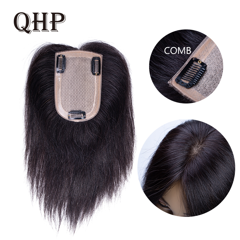 Human Hair Topper Wig For Women Straight Intermediate Silk Base With Clips In Hair Toupee Remy Hairpiece