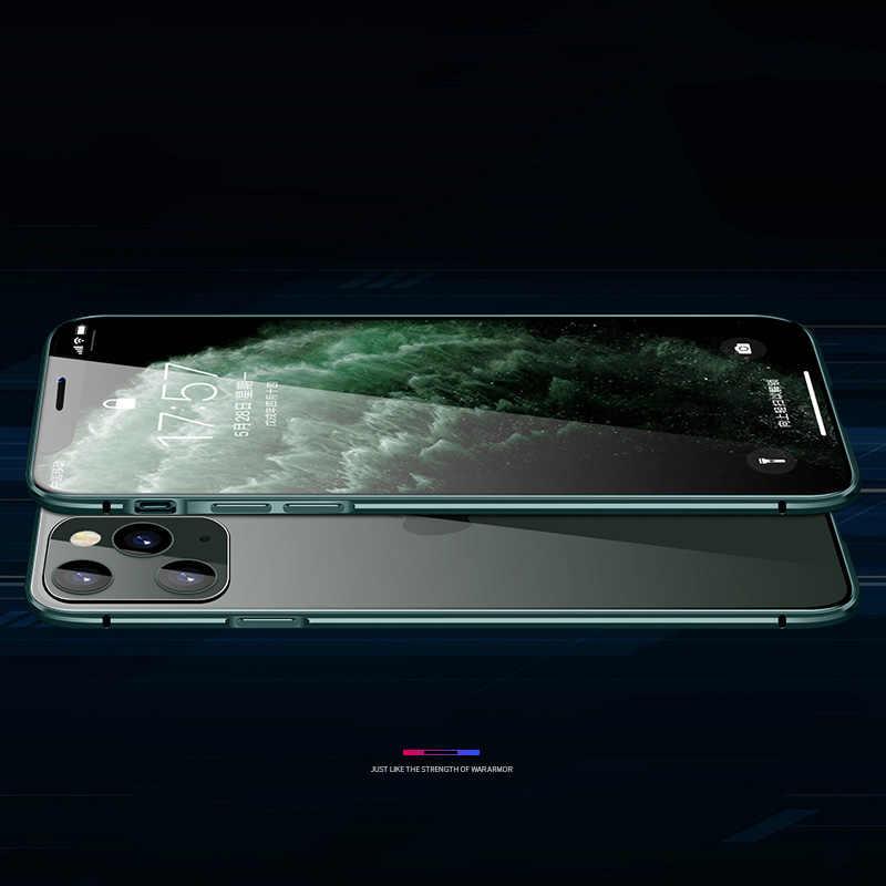 360 Logam Magnetik untuk Iphone 11 Pro Max Double Sisi Kaca untuk Iphone X XR X MAX 7 8 6S Plus 9H Tempered Kaca Penutup