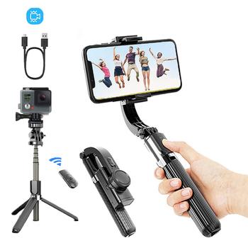 Kardana ręczna stabilizator telefonu nagrywanie wideo do wszystkich smartfonów stabilizatory bezprzewodowy kijek do Selfie Bluetooth Vlog Live Stream tanie i dobre opinie AILEHKUO CN (pochodzenie) 1 4 Śruba Pojedynczy Uchwyt 68 5 x 39 5 x 190~860 mm 370g Pakiet 1 860mm White Black Youtobe Tiktok video call