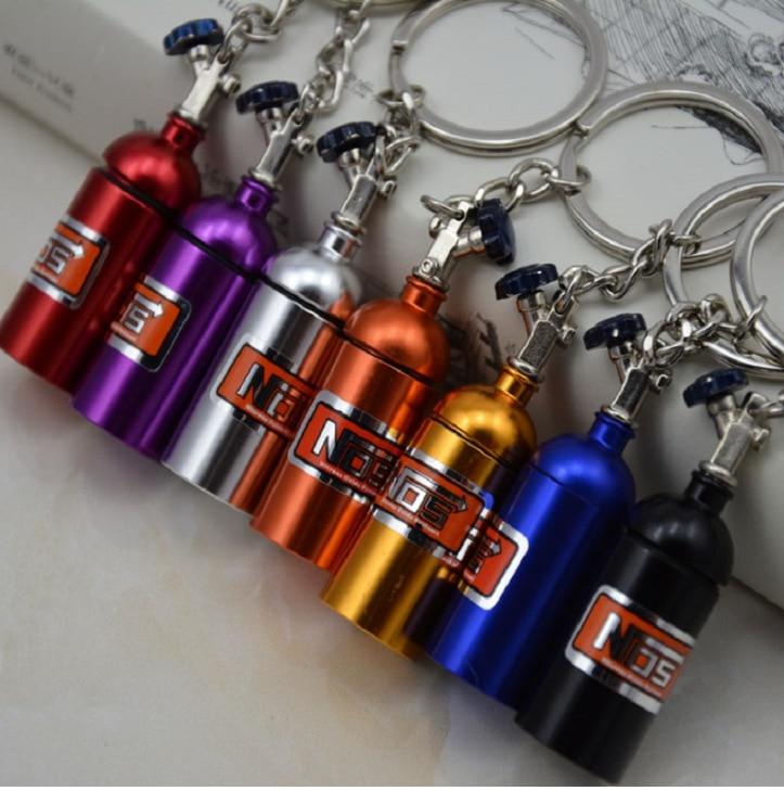 1pcs metal Creative Cartoon turbine Car keychain nitrogen bottle keychain for NOS car styling Auto Accessories Car key pendant