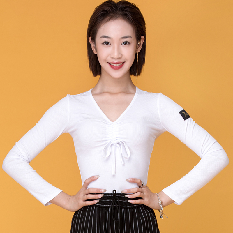 Latin Dance Tops Women Winter Long Sleeve Shirts Rumba Cha Cha Samba Tango Flamengo Dancewear Adults Practice Clothing DN4606