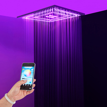 Colorful Phone Control Light Shower Head Rainfall Waterfall LED Heads Bathroom 24 Inch Ceiling  Showerheads 304 SUS