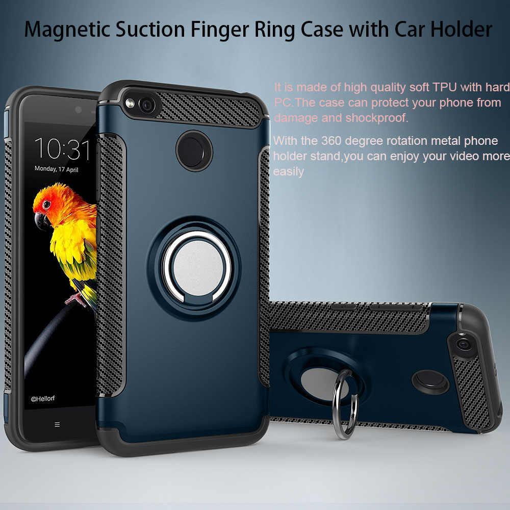 Tahan Guncangan Case untuk Xio Mi Merah MI 5 Plus Catatan 5A Berdiri Magnetik Braket Cincin Case untuk Xiao Mi mi A1 A2 Merah Mi 4X Catatan 4X Case