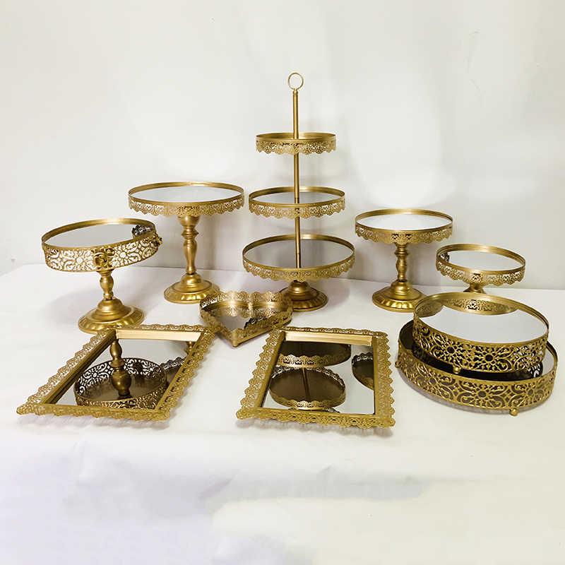 1-10 ชิ้นเค้กชุดรอบโลหะเค้กขนม Cupcake ยืน,GOLD