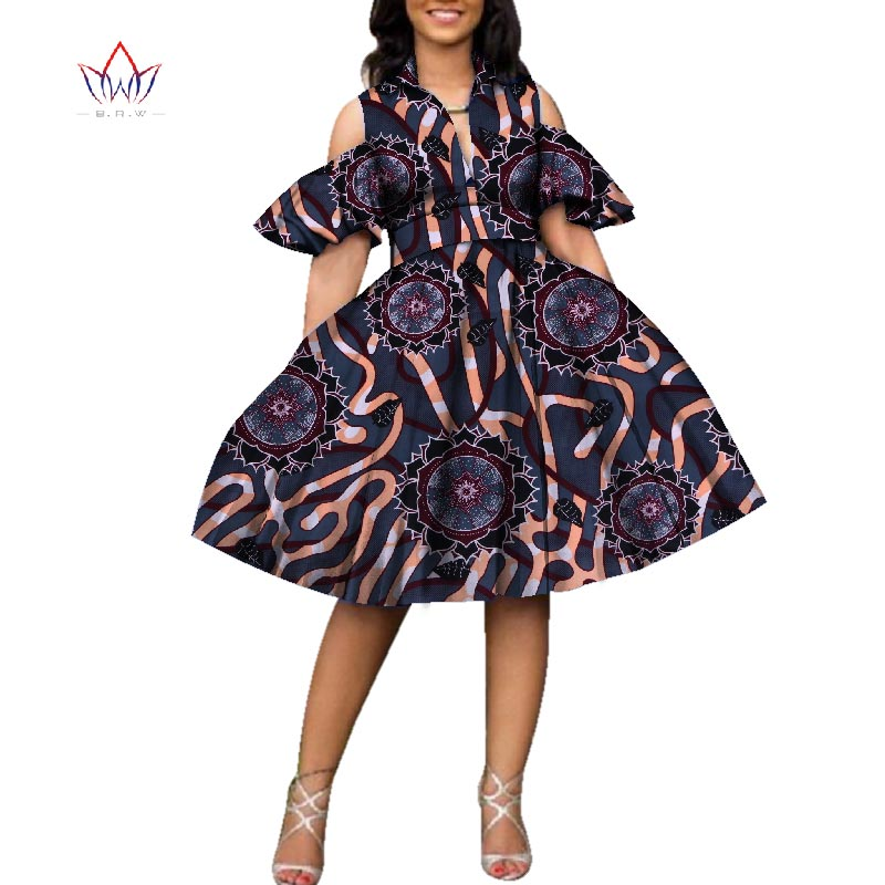 New 100% Cotton African Print Dresses for Women Bazin Riche Women V-neck Knee Length Tutu Dress African Style Clothing WY2752