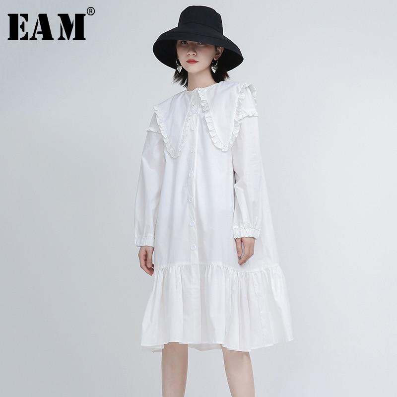 [EAM] Women White Ruffles Split Joint Midi Temperament Dress New Long Sleeve Loose Fit Fashion Tide Spring Autumn2021 1Y597