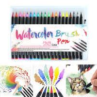 20 piezas colores arte marcador acuarela pincel bolígrafos para material escolar papelería dibujo libros para colorear Manga caligrafía