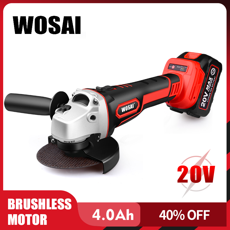 WOSAI Brushless Angle Grinder 20V Lithium-Ion Grinding Machine Cordless Electric Grinder Polishing Cutting Power Tools
