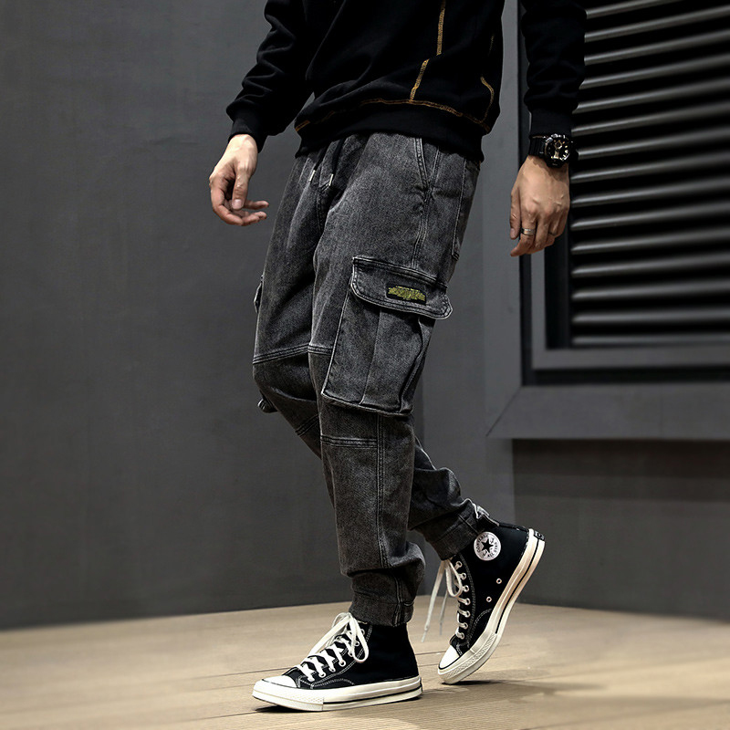 Fashion Streetwear Men Jeans Vintage Designer Loose Fit Denim Cargo Pants Black Gray Harem Jeans Big Pocket Hip Hop Jeans Men