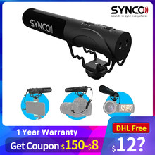 SYNCO Mic-M3 kamera Shotgun Mic süper kardioid kondenser Video mikrofon ile 3.5mm TRRS TRS kabloları Smartphone için, DSLR kam