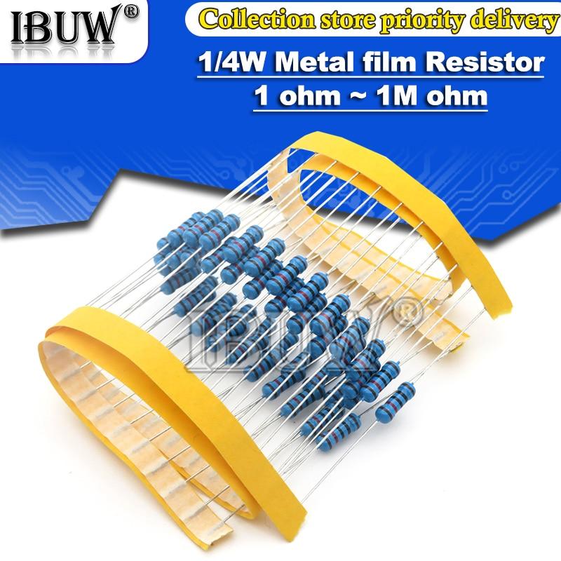 100 шт. 1/4W металлический пленочные резисторы 1R ~ 22M 1% 100R 220R 1K 1,5 K 2,2 K 4,7 K 10K 22K 47K 100 к 100 220 1K5 2K2 4K7 ohm Сопротивление