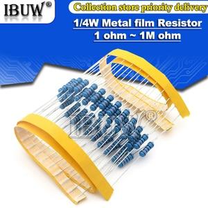 100pcs 1/4W Metal film resistor 1R~22M 1% 100R 220R 1K 1.5K 2.2K 4.7K 10K 22K 47K 100K 100 220 1K5 2K2 4K7 ohm resistance