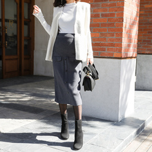 8025# Autumn Winter Korean Fashion Knitted Maternity Pencil Skirts OL Work Pregnancy Belly Skirts Clothes for Pregnant Women
