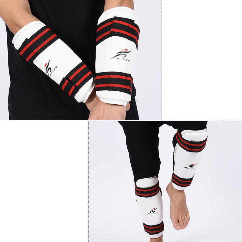 Protector de brazo de Taekwondo + espinillera, 2 uds., conjuntos de combate Foream + equipo de entrenamiento de soporte de vástago para Karate, niños y adultos