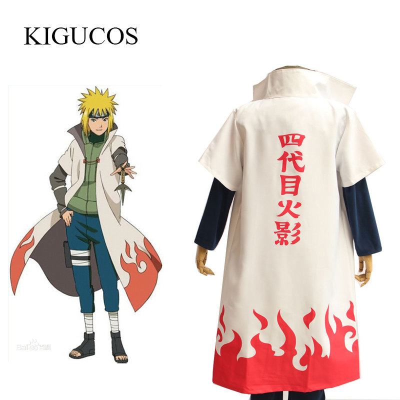 KIGUCOS Namikaze Minato Cosplay From Naruto Costumes 4th Hokage Cosplay Costumes Cloak Anime Party Cape Outfit