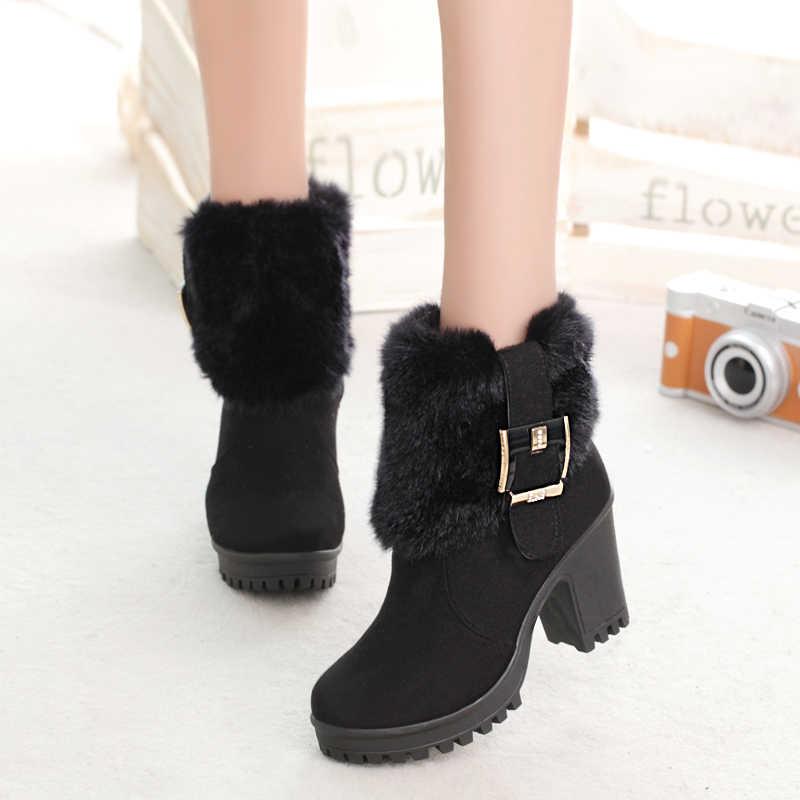 כיכר העקב נשים חורף נעלי קלאסי אבזם חם פרווה שלג גבירותיי מגפיים גבוהה עקבים שחור פלטפורמת קרסול מגפי נשים botas g907