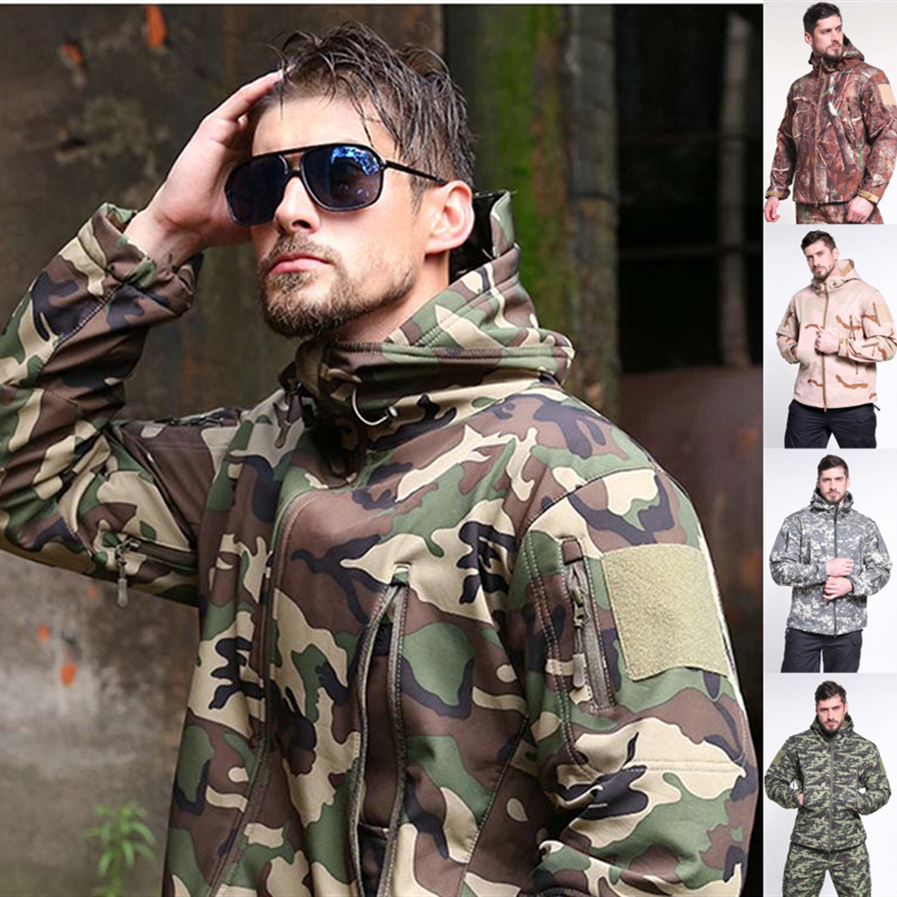 Military Uniform Men Army Suit Outdoor Coat Jacket Soft Shell Jacket Windproof Waterproof Breathable Tactical Suits Camouflage