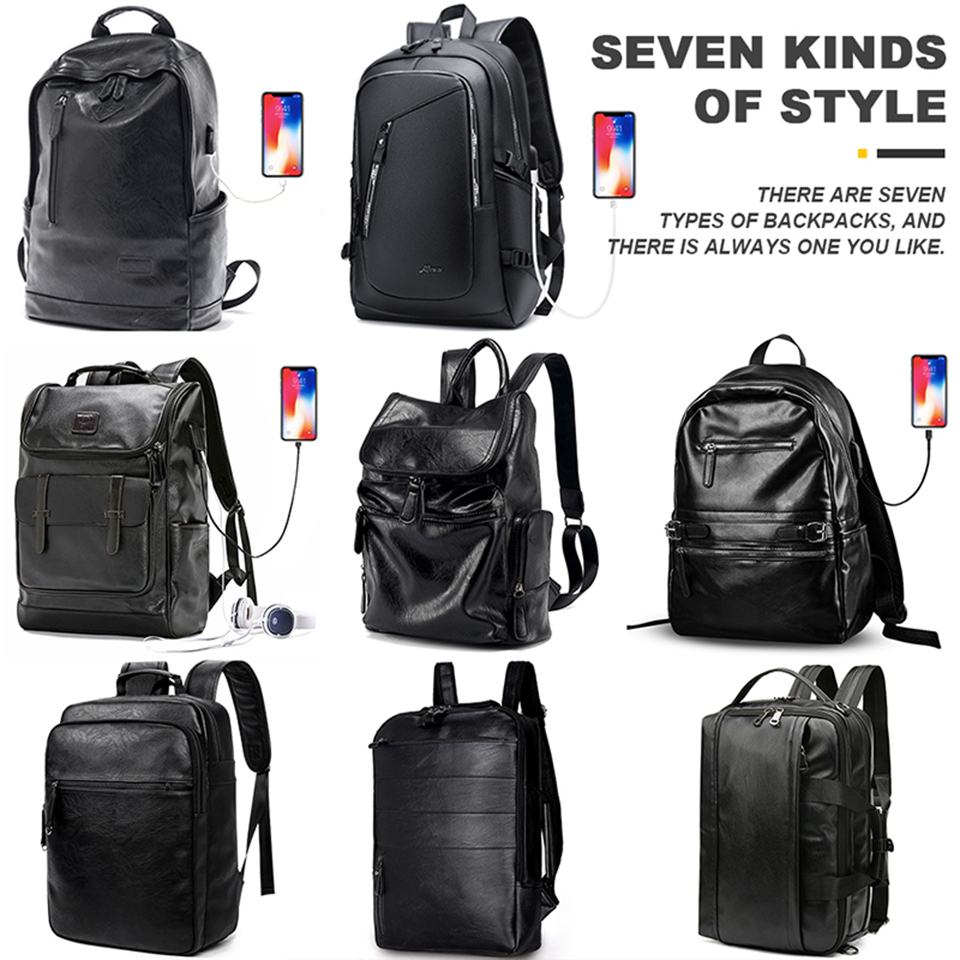 Image 5 - Leather Backpack PU Travel Men Laptop Back Pack 15.6 Inch 