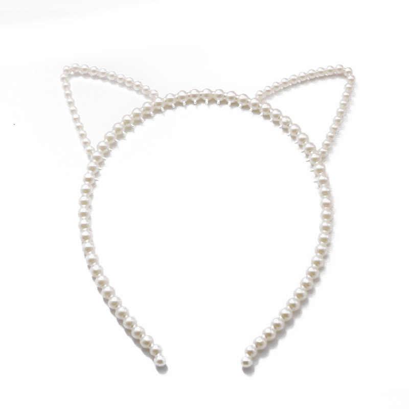 Faux perla Diadema con orejas de gato para mujeres elegante blanco perla boda fiesta accesorios para el cabello tocado de novia diadema cabeza aro