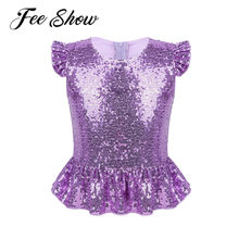 Kids Girls Mermaid Cosplay Costume Sparkly Sequins Short Flutter Sleeves Zipper Top for Halloween Carnival Birthday Theme Party(China)