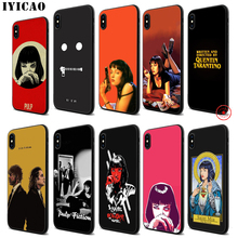 IYICAO Pulp Fiction Soft Black Silicone Case for iPhone 11 Pro Xr Xs Max X or 10 8 7 6 6S Plus 5 5S SE