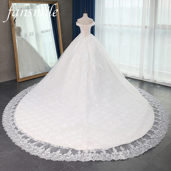 Fansmile Quality Long Train Vestido De Noiva Lace Wedding Dresses 2020 Plus Size Customized Gowns Bridal Dress FSM-070T - discount item  30% OFF Wedding Dresses