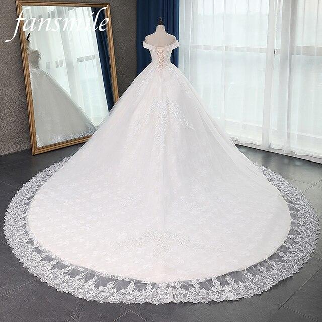 Fansmile jakość długi pociąg Vestido De Noiva koronkowe suknie ślubne 2020 Plus rozmiar spersonalizowany suknie ślubne suknia ślubna FSM 070T
