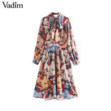 Vadim נשים אלגנטי הדפסת midi שמלת עניבת פרפר צווארון sashes ארוך שרוול נקבה משרד ללבוש אופנתי מקרית אמצע עגל שמלות QC896