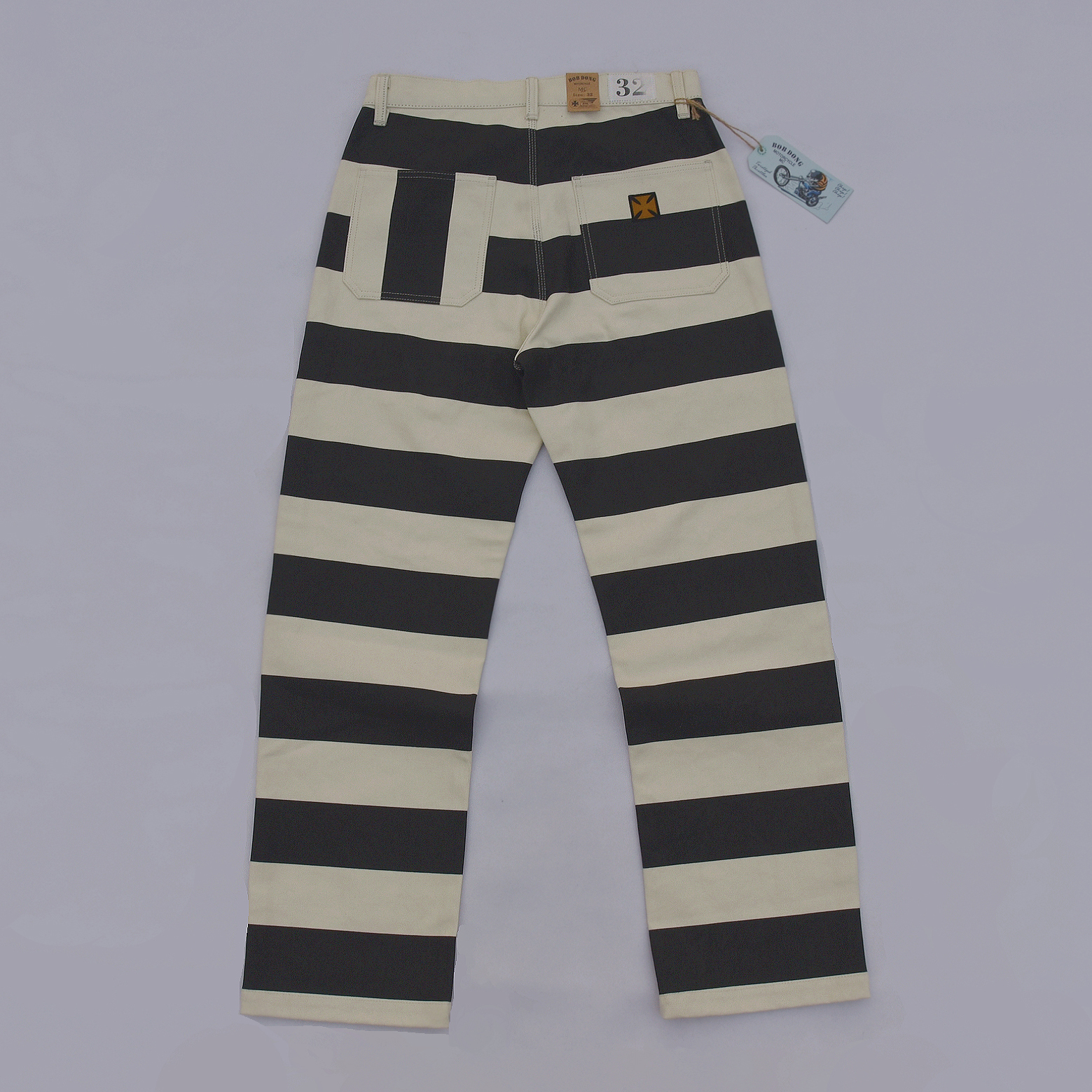 BOB DONG 2019 New Prisoner Striped Motorcycle Pants Vintage 16oz Biker Trousers