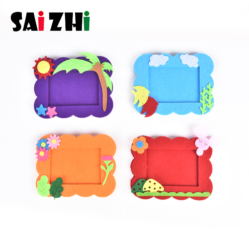 Saizhi Kids DIY Craft Kit 3D Cartoon Photo Frame Puzzle Toy Children Handmade EVA Cloth Sticker Child Creativity Toy Kit SZ3629