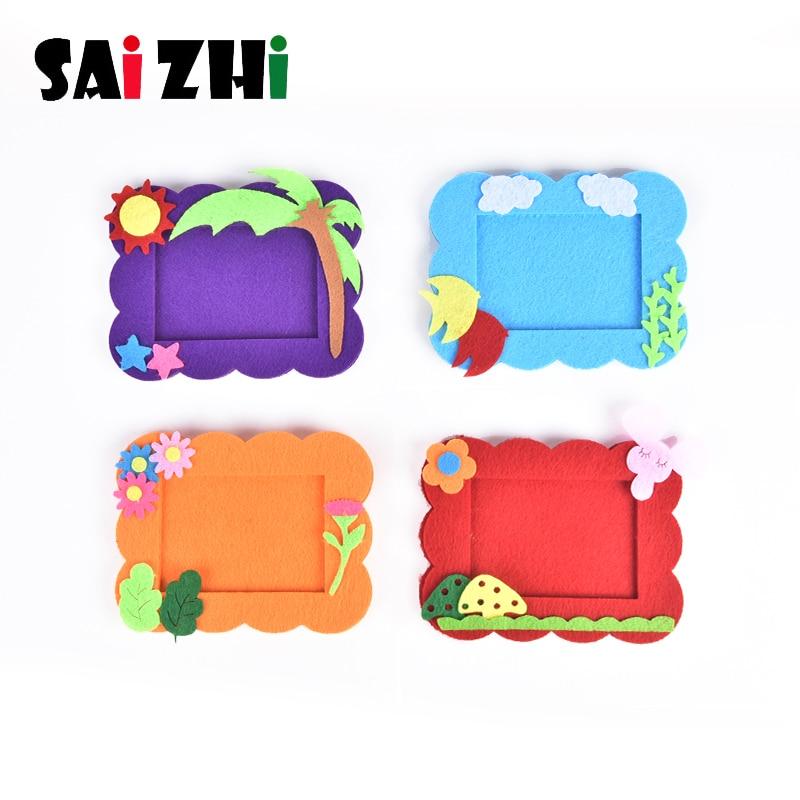 Saizhi Kids DIY Craft Kit 3D Cartoon Photo Frame Puzzle Toy Children Handmade EVA Cloth Sticker Child Creativity Toy Kit SZ3629