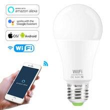 Lâmpada led inteligente para operar Alexa controle de assistente Google, pode ser ofuscado 15w b22 e27 wifi, para acordar de luz da noite