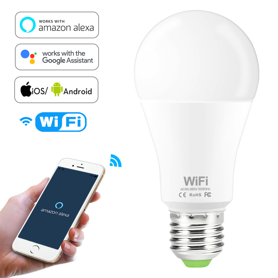 Dimmable 15W E27 WiFi Smart Light Bulb LED Lamp App Operate Alexa Google Assistant Voice Control Wake up Smart Lamp Night Light image
