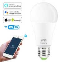Regulable 15W E27 WiFi inteligente bombilla de luz LED Aplicación de funcionamiento Alexa Google Asistente de Control de voz Wake up lámpara inteligente luz de noche