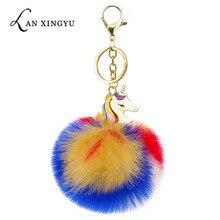 Lucky Unicorn Pokemon Ball Color Alloy Keychain Handmade Faux Fur Pom Pom Pendant Tote Decoration Thanksgiving Jewelry Gift недорого