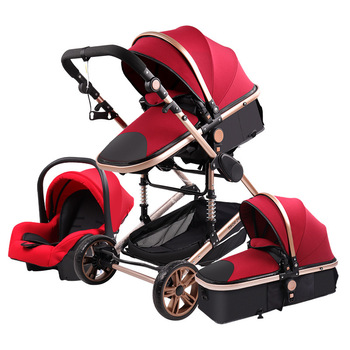 High Landscape Baby Stroller 3 in 1 Hot Mom Stroller Luxury Travel Pram Carriage Basket Baby Car Seat and Stroller Carrito Bebe image