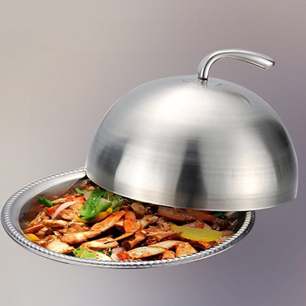 Stainless Steel Cloche Food Cover Dome Serving Plate Dish Dining Dinner Domed Cover Serving Dish Cloche Food Cover