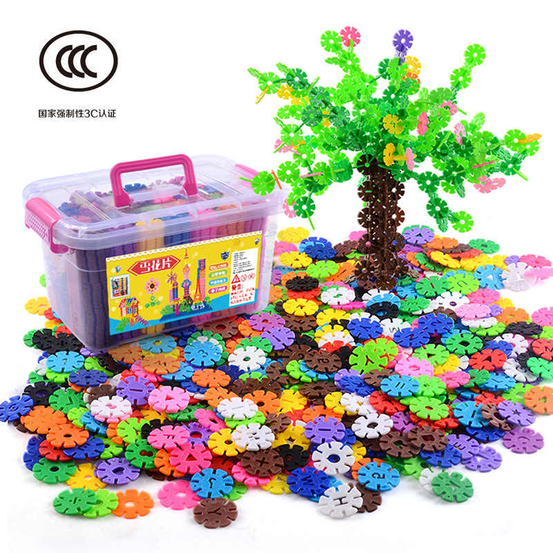 1100 pcs Jigsaw Plastic Snowflake Building Creative Toys Kids Flakes Interlocking Plastic Disc Set Construction kids brain toy
