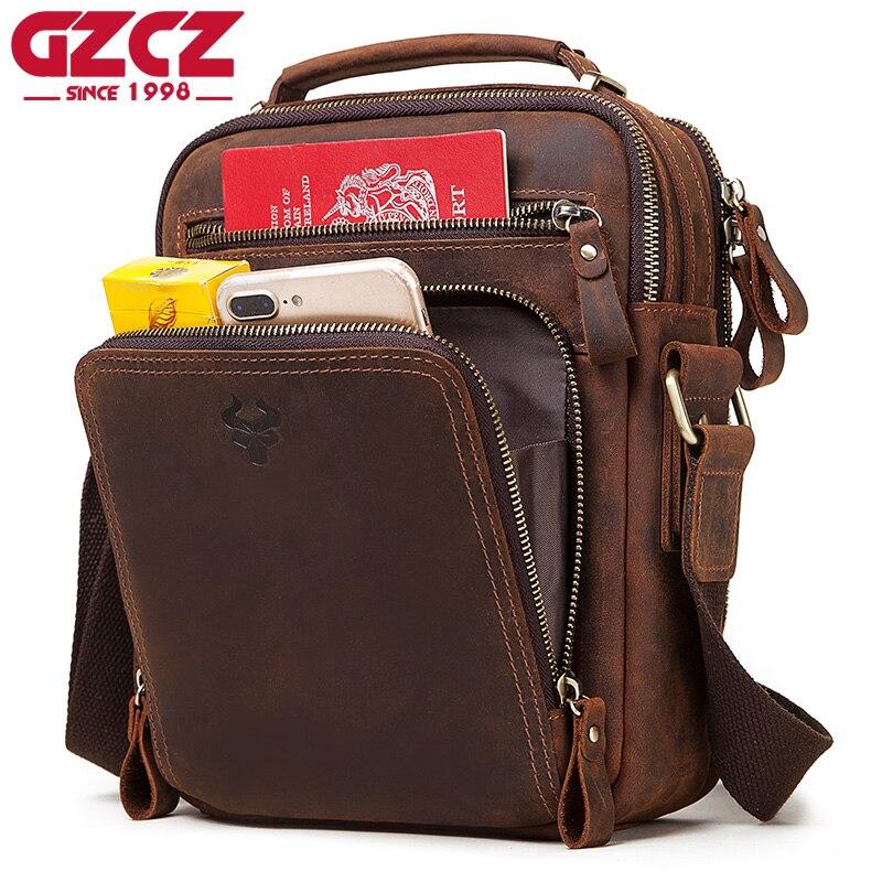 GZCZ 100% Качественная мужская сумка мессенджер из натуральной кожи, модные мужские сумки через плечо, деловая сумка через плечо, Повседневная сумка, маленькая сумка|Сумки-кроссбоди|   | АлиЭкспресс