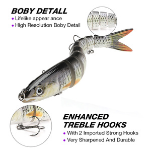 Image 4 - 13.7cm 26g Pike Wobblers Fishing Lures Sinking 8 Segments Multi Jointed Artificial Bait Hard Swimbait Crankbaits Fishing Tackle