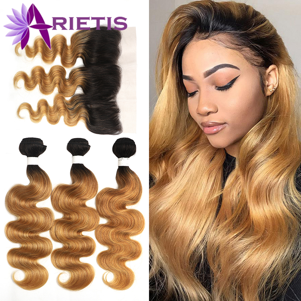 1B 27 Ombre Human Hair Bundles With Frontal 13x4 Arietis Honey Blonde Brazilian Body Wave Bundles With Closure Remy Hair Weave