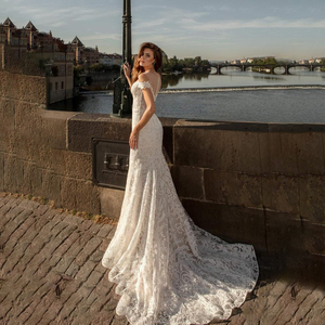 Image 4 - Sexy Lace Mermaid Wedding Dress 2020 Boho Lace Applique Off Shoulder Bohemian Wedding Gowns Bridal Dress Custom Made