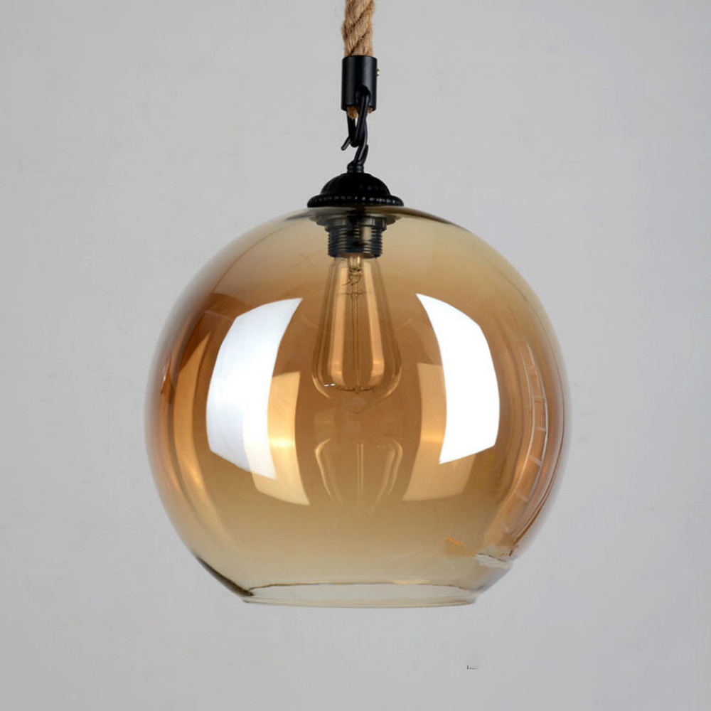 Vintage Classic Hanging Lamp Amber Retro Hemp Rope Glass Pendant Light LED Pendant Lamp Luminaire Suspendu Lustre Led Modern