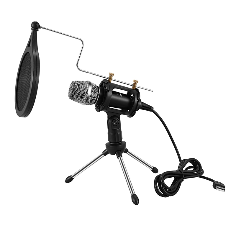 Professional Microphone Condenser For Computer Laptop Pc Usb Plug+Stand Studio Podcasting Recording Microfone Karaoke Mic